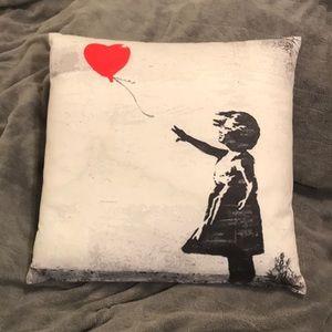 "Other - Banksy Balloon Girl Print 16"" Inch Throw Pillow"